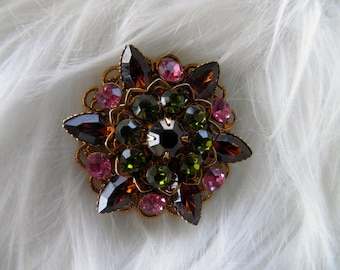 Vintage Juliana Brooch, Pin, D&E, Pink, Green