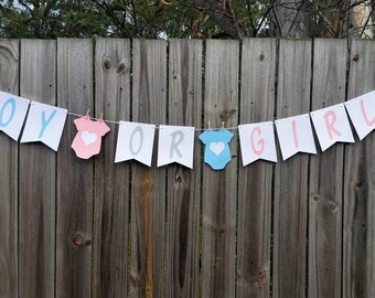 Boy Or Girl? Baby Shower Bunting, Banner, Garland Gender Reveal Surprise Decoration