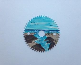Saw Blade Small Hand Painted Circular Saw Blade Ocean View Painted by Barbara Turbin