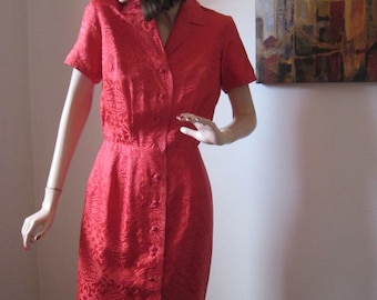 Vintage 50's Clothing Red Silk Day Dress Coat Style Vintage 1960's Frock Hong Kong Miami Beach