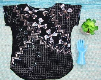 Vintage Argenti Silk Sequin Top Medium Womens Black Silver Short Sleeve Beaded Heavy Glam 80s Boho Festival