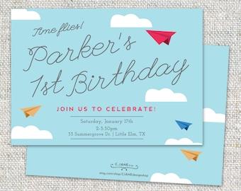 Paper Airplane Invitation: Birthday, Airplane theme, Digital File or Printed Cards, Plane Birthday, Printable, Customizable