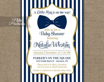 Bow Tie Baby Shower Invitations - Printable Navy Blue & Gold Baby Shower Invites - Boy Bowtie Baby Shower Invitation - Blue and White NGG
