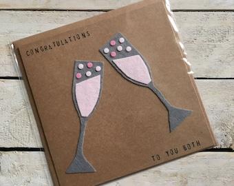 Pink Fizz in Felt Champagne Glasses Congratulations Card, Handmade Card