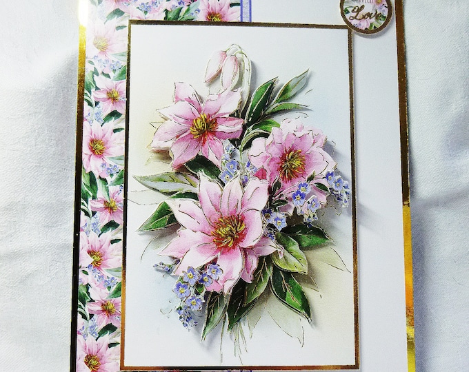 Floral 3 D Decoupage Card, Birthday Card, Special Day Card, Celebration Card, Anniversary Card, Special Birthday Card, Any Age