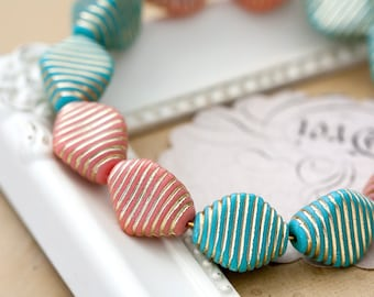 Vintage Plastic Beads Teal Green and Salmon Pink Plastic with Gold Stripes Triangle Beads