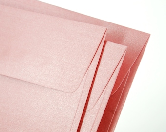 """A7 (5x7) Metallic Pink Envelopes - Perfect for 5""""x7"""" party invitation (pack of 10 or 20) - The actual size is 5 1/4""""x7 1/4"""""""