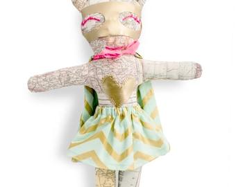 Rag dolls-super hero-Miss Magellan-girl-Super Doudou for kid in printed world map fabric