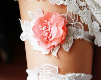 Bridal Garter Wedding Garter Set - Coral White Lace Garter - Rustic Garter Boho Garter Wedding Gift Prom Garter Set