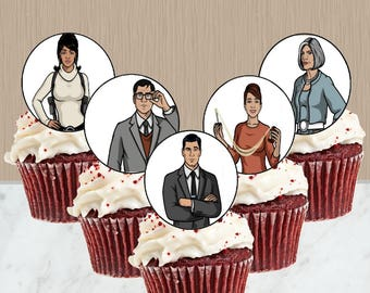 Instant Download Archer Cupcake Toppers - Archer TV Show Cupcakes - Archer Party - Digital Print - Cupcake Topper - You Print - Malory
