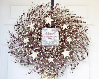Christmas Wreath Merry Christmas Berry Wreath Wood Block sign Burgundy green berries Holiday Front Door Decor Hostess Housewarming gift