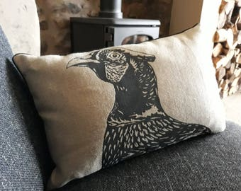 natural linen cushion / pillow with screen printed pheasant in charcoal