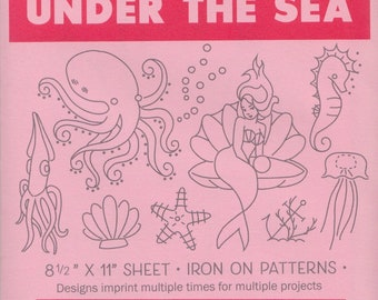 Modern Embroidery Pattern   Sublime Stitching Embroidery Patterns, Modern Hand Embroidery Design, Iron On Transfer - UNDER the SEA