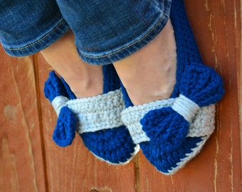 Royal blue and grey slippers, crochet slippers, womens slippers, big bow slippers, crochet socks, slippers, crochet shoes, crochet booties