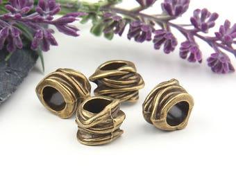 Bronze Large Hole Slider Beads, 4 pieces //  ABB-036
