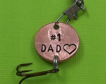 Dad Engraved Penny Fishing lure - Gift for Him - Daughter Gift For - Engraved Penny - Son Gift For - New Daddy - #1 DAD