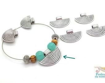 6 semicircle 17x25mm ethnic jewelry (pm217) nickel silver metal beads
