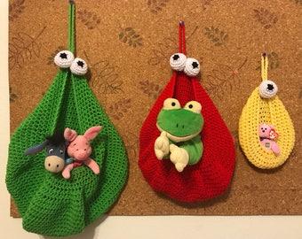 Crocheted Handmade Monster Toy Storage Bags/Basket Set