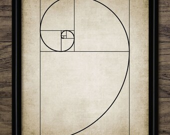 Vintage Fibonacci Spiral Print - Fibonacci Illustration - Mathematical Golden Ratio - Printable Art - Single Print #655 - INSTANT DOWNLOAD