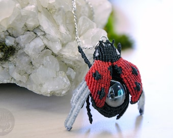 Ladybug - insect macrame - Entomology - Hematite - SleepingWoods pendant