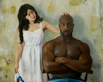 Oil portrait figure realism 30x40 inch painting figurative Unspoken by Kim Dow