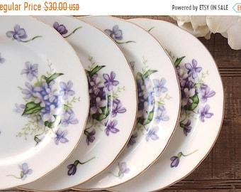 AM Verkauf besetzt übereinstimmende Frühjahr Veilchen Rossetti Brot Teller Set von 4 Dessert Teller lila und blauen Veilchen Japan Brautjungfer Mittagessen