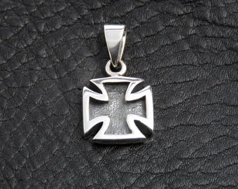 Silver cross pendant, sterling silver cross necklace for men, Maltese cross necklace, biker necklace, Gothic jewelry, gift for men