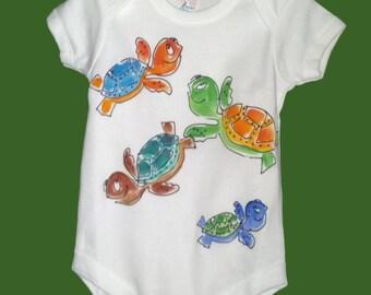 Turtles Handpainted Onesie Bodysuit for Infants