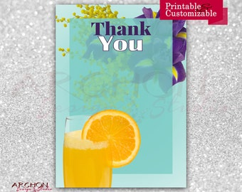 Mother's Day Thank You Card - Mother's Day Brunch Thank You Card - Mimosas - Mom-osas - Printable & Personalized - A-00036