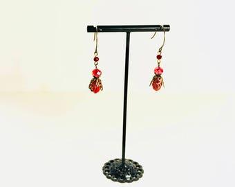 Red Vintaj Earrings