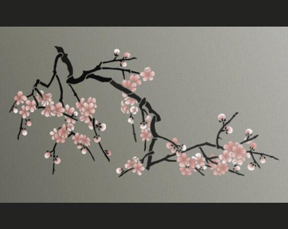 pochoir fleurs de cerisier japonais pochoir grosse branche. Black Bedroom Furniture Sets. Home Design Ideas