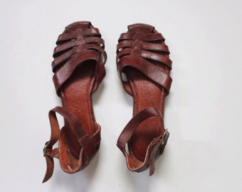 Vintage 1980s Sandals | Brown Leather Sandals | Cut Out Sandals | Brown Wedges | Huarache Sandals | 6
