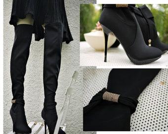 Vintage Boots Black/Made in Italy/SergioTodzi/high heel stiletto/Sexy Burlesque/stretch fabric/size EU 37/UK 4/US 6.5