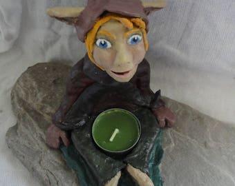 Candlestick korrigan Pixie sitting in papier mache