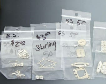 Sterling and silver base metal odds and ends. Below wholesale lot. Beadwork, Jewelry making, Jewelry supply.