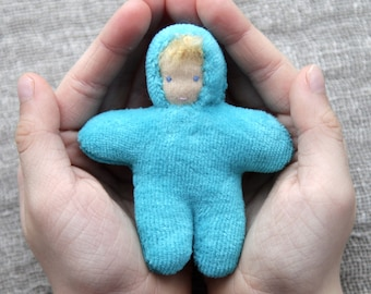Waldorf  baby  doll 3 inch (8 cm) small doll pocket doll natural  toy birthday party favors