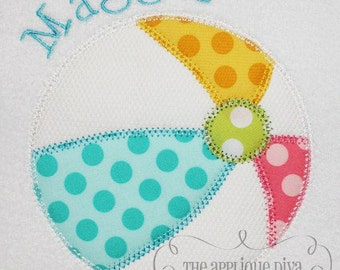 Summer Beach Ball Embroidery Design Machine Applique