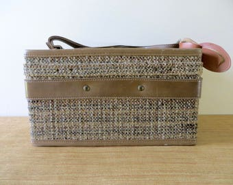 Vintage Hartmann Tweed Train Case - Tan Leather Brass Accents - Paisley Interior - Cosmetic Case