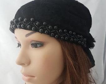 Black Lace Tichel, Ethnic Head Scarf, Snood, Chemo Cap, Ethnic Head Wrap, Headscarves, Hair Covering, Headwear, Women's Hats