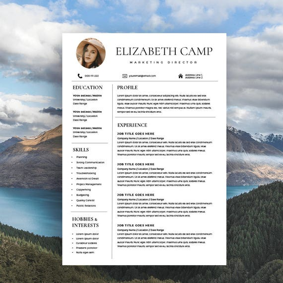 resume template with headshot photo cover letter 1  2 page