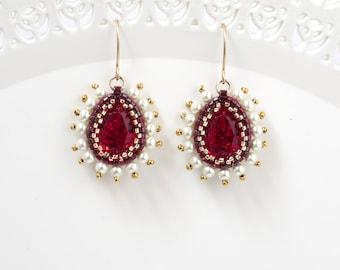 Swarovski crystal teardrop victorian red dangle earring, Mother day gift idea