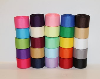 "7/8""(22mm) Grosgrain Ribbon Lot (Choose  1 or 2 Yard Each of  25 Different Colors)"