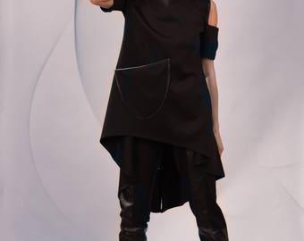 Cold Shoulder Tunic Top/ Open shoulder/ Off-the-Shoulder Top/ Exposed Shoulders Black Asymmetrical Tunic/ Split Back