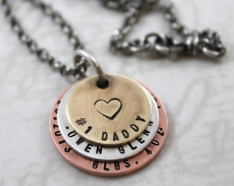 Custom hand stamped mens personalized necklace, first time father, new dad necklace, custom mens necklace, inspirational