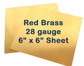 Red Brass Sheet Metal - 28 Gauge - 6 x 6 Inches - Choose Your Quantity