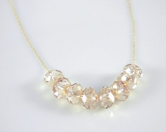 Gold filled necklace with Swarovski crystals - Carrie necklace