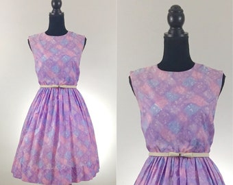 Sunday Picnic Lavender Vintage Dress, Gingham Dress, VLV Dress, Dapper Day, Rockabilly Dress, Tangled Dress Disneybound, Size Medium, Purple