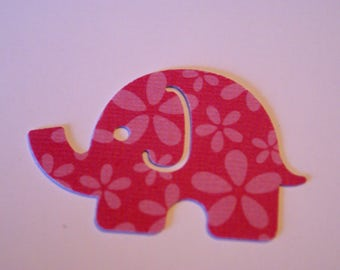 25 Large MOD ELEPHANT paper punch,  2 inch wide x 1.5 Pink on pink, white on back confetti, scrap booking. Baby shower.