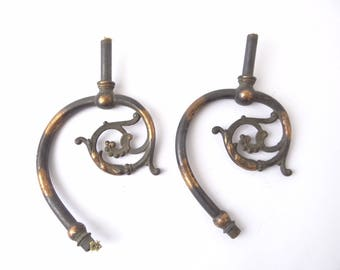 Two Antique Old Copper Metal Gas Lamp Arms Lighting Parts Lamp Hardware