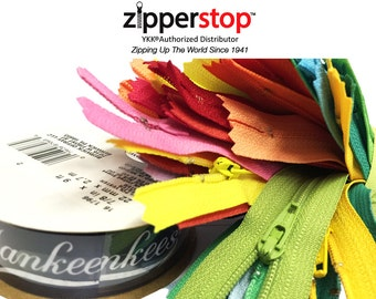 Wholesale YKK® Zippers - 25 Assorted Rainbow Colors of  Ykk® #3 Nylon Coil with One Roll Navy NY Yankees Decorative Ribbon Made in USA